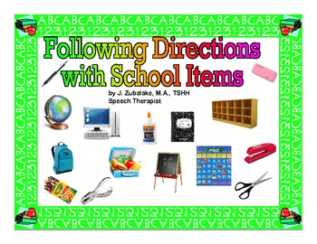 FOLLOWING DIRECTIONS with SCHOOL ITEMS for Speech Therapy