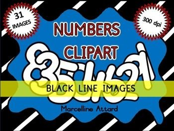 FONT CLIPART BUNDLE: NUMBERS CLIPART + LETTERS CLIPART: BLACK AND WHITE CLIPART