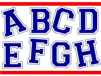 FONTS -  College Style Font - Blue Font
