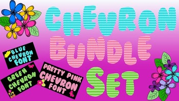 FONTS - Bundled Font Set - Blue, Pink, & Green