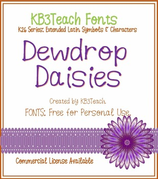 FREE FONTS: KB3 Dewdrop Daisies (Personal Use: K26 Series)
