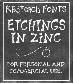 FONTS: KB3 Etchings In Zinc 3-Font Set (Personal & Commerc