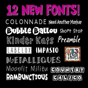 FONTS:  KB3 MINI PACK 12-Font Set (Personal and Commercial Use: K26 Series)