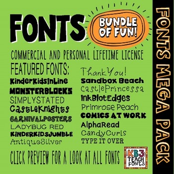 2FONTS MEGA PACK 200+ Fonts (All KB3Teach Fonts)