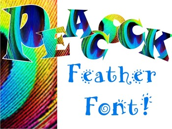 FONTS - Peacock Feather Clip Art Lettering - Personal and Commercial use
