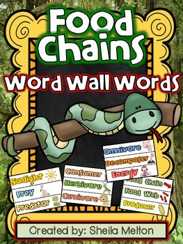FOOD CHAINS Vocabulary Wall Words