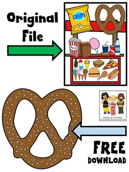 FOOD CLIP ART * PRETZEL * COLOR AND BLACK AND WHITE * FREEBIE