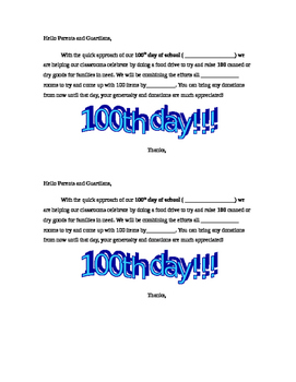 FOOD DRIVE- 100th day of school Letter