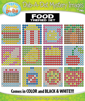 FOOD Dab-A-Dot Mystery Images Clipart {Zip-A-Dee-Doo-Dah Designs}
