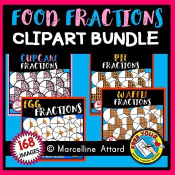 FOOD FRACTIONS CLIPART BUNDLE 2: MATH CLIPART: FOOD CLIPART
