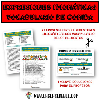 FOOD IDIOMATIC EXPRESSIONS CARD GAME FOR SPANISH CLASS