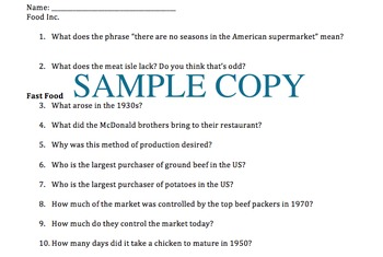 FOOD INC. Movie Guide