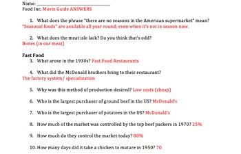 FOOD INC. Movie Guide ANSWERS by Mrs History   Teachers Pay Teachers
