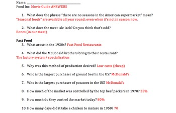 FOOD INC. Movie Guide ANSWERS by Mrs History | Teachers Pay Teachers