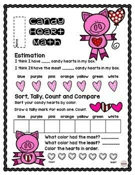 FOOD MATH - Candy Conversation Heart Math