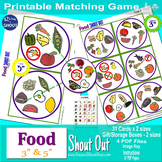 """FOOD Matching Game Shout Out; Word of Wisdom; 3"""" & 5"""", box, Spot the Match"""