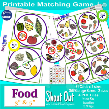 "FOOD Matching Game Shout Out; Word of Wisdom; 3"" & 5"", box, Spot the Match"