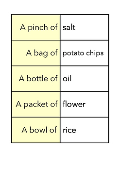 FOOD QUANTITIES cards - FUN STUFF!