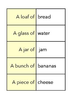 FOOD QUANTITIES cards - FUN STUFF!