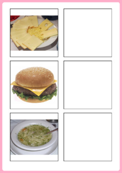 Food Activity for Speech Therapy and ESL - Word to Picture Match
