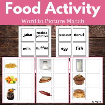 FOOD Word to Picture Matching Activity