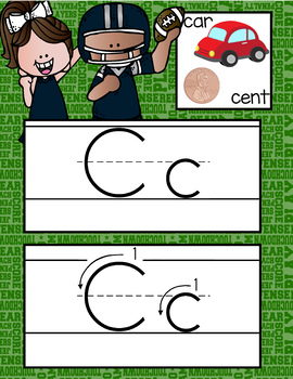 FOOTBALL - Alphabet Cards, Handwriting, Flash Cards, ABC print with pictures