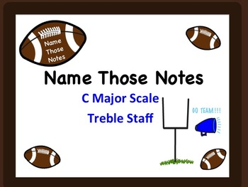 FOOTBALL MUSIC NOTES- Name Those Treble Notes w AnswerKey!  Great for Sub...