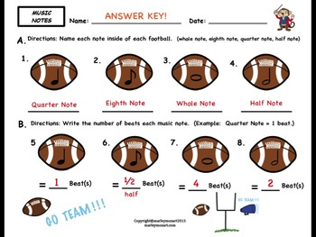 FOOTBALL MUSIC NOTES- Quarter, Eighth, Half, & Whole Notes w ANSWER KEY!