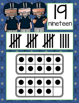 FOOTBALL - Number Line Banner, 0 to 20, Illustrated, ten frames, tally marks