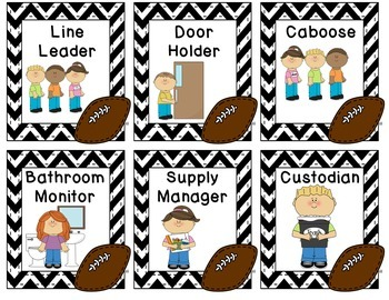 Class Jobs and Name Labels - Football Theme