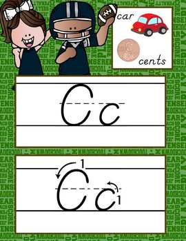 FOOTBALL theme - Alphabet Cards, Handwriting, D'Nealian, ABC cards with pictures
