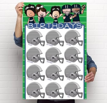 FOOTBALL theme - Classroom Decor: Happy Birthday - size 24 x 36 poster