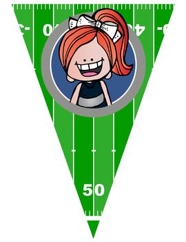 FOOTBALL theme - Classroom Decor - Triangle Banners, EDITABLE