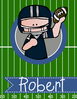 FOOTBALL theme - Student Binder Covers / MS PowerPoint, you personalize