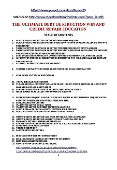 FOR ALL EDUCATORS:THE ULTIMATE DEBT DESTRUCTION WIN AND CREDIT REPAIR EDUCATION
