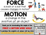 FORCE & MOTION WORD WALL Freebie Sample!