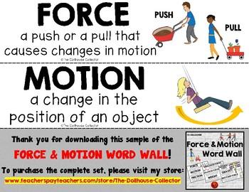 FORCE & MOTION WORD WALL Freebie Sample!