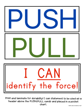 FORCE and MOTION: Push and Pull Cards for Games/Sorting