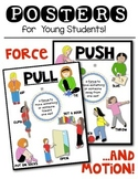 Force and Motion: Push & Pull Science Posters for Kindergarten & First