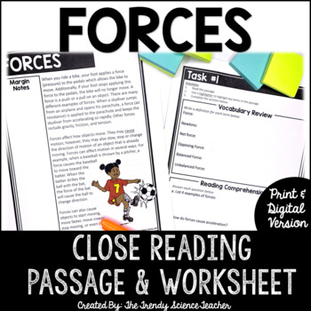 FORCES Close Reading Passage and Review Worksheet (with answer keys)