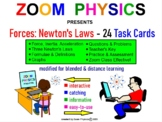 FORCES: NEWTON'S LAWS 20 Task Cards @ Key 60 problems, Test Quiz Prep Worksheets