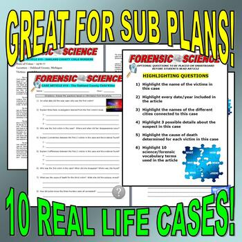 FORENSIC CASE ARTICLES BUNDLE #2 (10 articles / question sheets / no prep)
