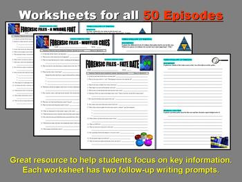 FORENSIC FILES COLLECTION (BUNDLES 11-15 : 50 VIDEO WORKSHEETS!)