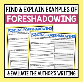 FORESHADOWING GRAPHIC ORGANIZER FOR ANY NOVEL OR SHORT STORY