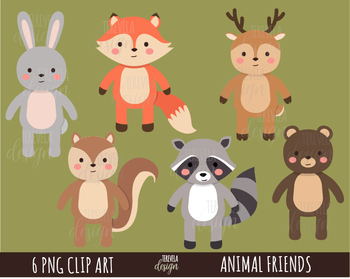 FOREST ANIMALS clipart, woodland animals, commercial use, FOX, cute animals