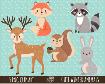 FOREST ANIMALS clipart, woodland graphics, commercial use, WINTER ANIMALS