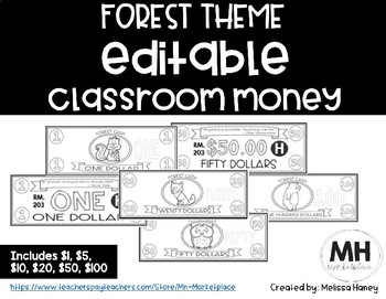 FOREST THEME - Classroom Money - EDITABLE