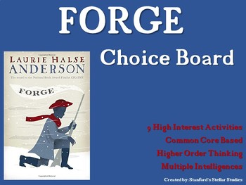 FORGE Choice Board Tic Tac Toe Novel Activities Assessment Project
