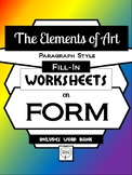 FORM- Elements of Art Worksheet Packet PARAGRAPH STYLE FILL-IN