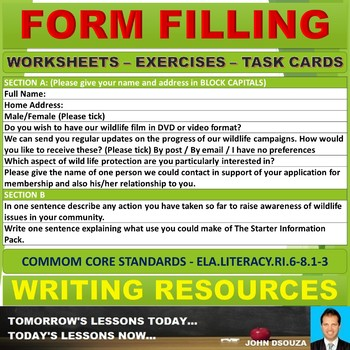 FORM FILLING: WORKSHEETS WITH ANSWERS